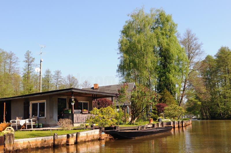 在勃兰登堡德国开化Spreewald森林风景  免版税库存照片