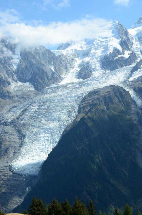 在勃朗峰的冰川 库存图片