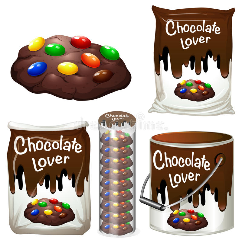 在包装的许多的巧克力曲奇饼 向量例证