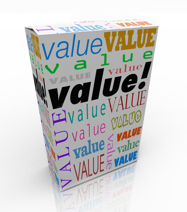 在包裹箱子最佳的价格合格品的价值词 库存例证