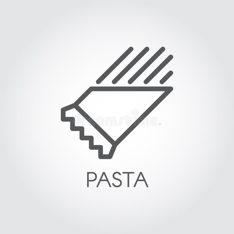 在包裹线象的面团 粉状膳食的标志 意大利盘 意粉或通心面概述象形文字 食物商标 向量例证