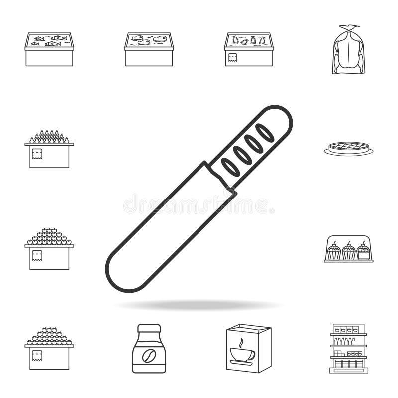 在包裹象的法国面包 详细的套商店和大型超级市场象 优质质量图形设计 一汇集 向量例证