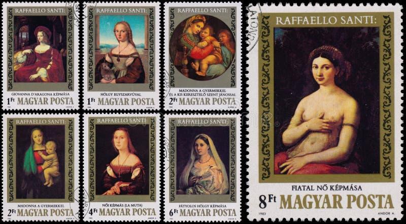在匈牙利打印的邮票由Raffaello Santi显示绘画 免版税库存图片