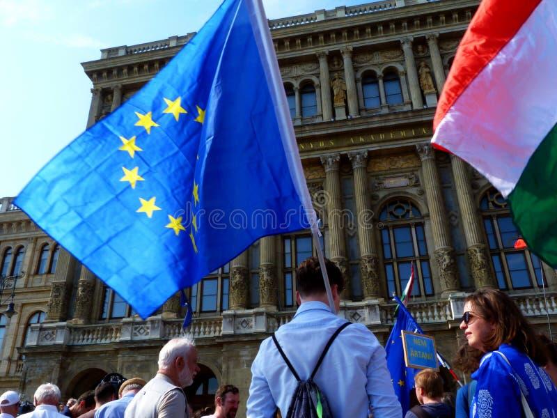 在匈牙利科学院的公开示范大厦前面在布达佩斯 库存照片
