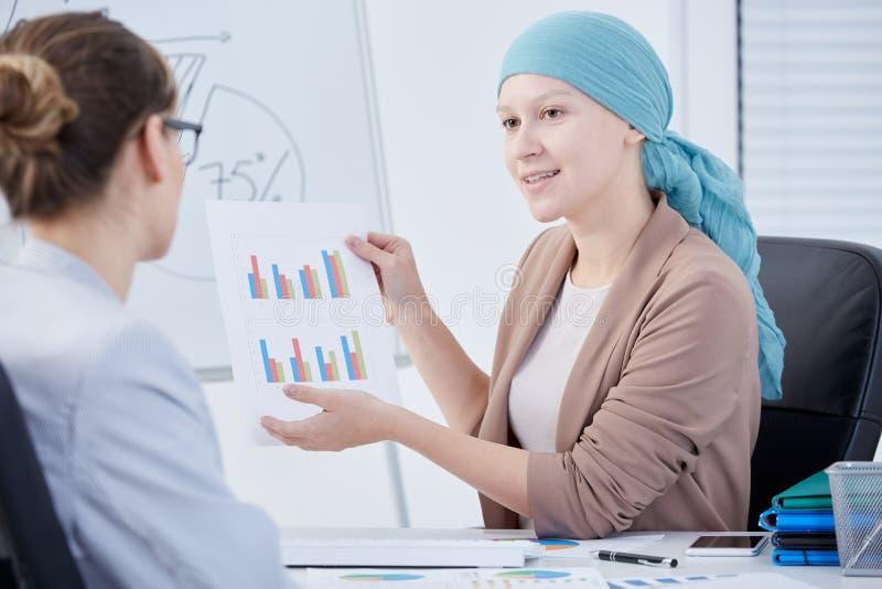 在化疗以后的妇女在工作 免版税库存图片
