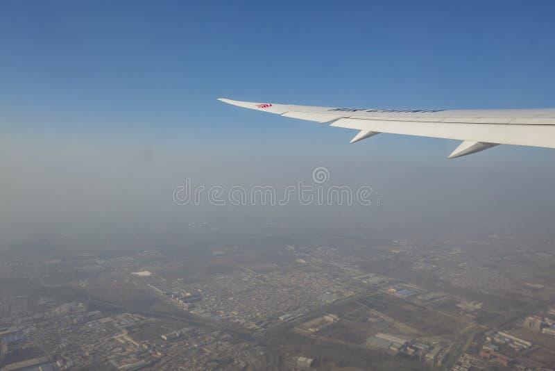 在北京国际机场附近的空中都市风景视图 免版税库存图片