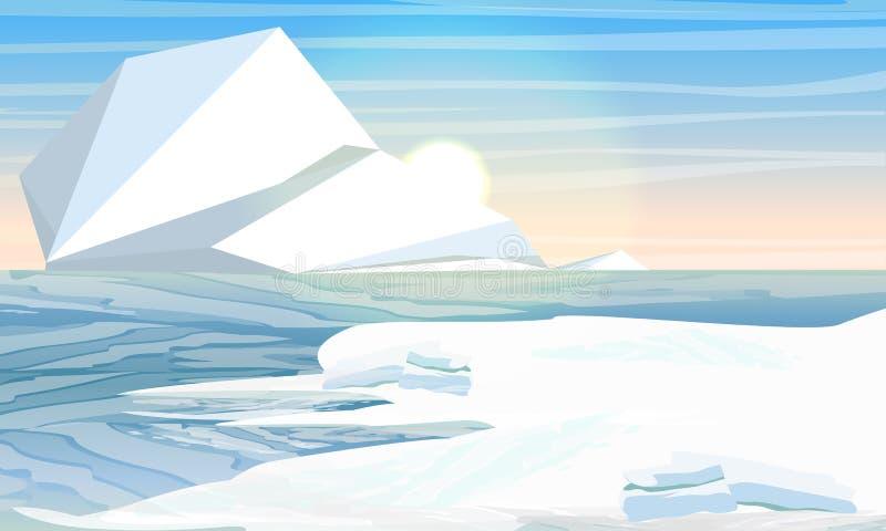 在北极的天或南极 冰山在水中 北海或海洋用冻水 皇族释放例证