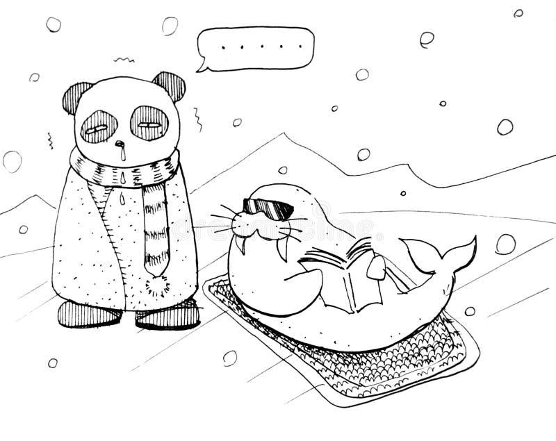 在北极的滑稽的动画片熊猫 向量例证