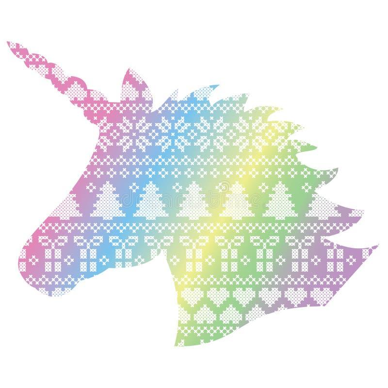 在北欧样式冬天缝的圣诞节无缝的样式的独角兽包括雪花,心脏,礼物,雪 向量例证