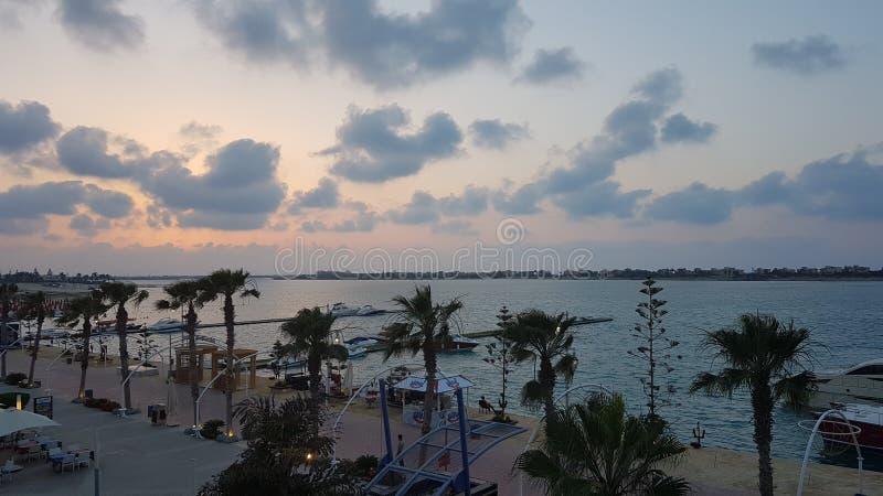 在北海岸埃及的日落 免版税库存图片