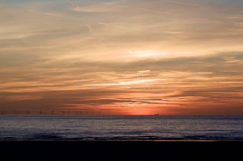 在北海岸的日落在荷兰 库存照片