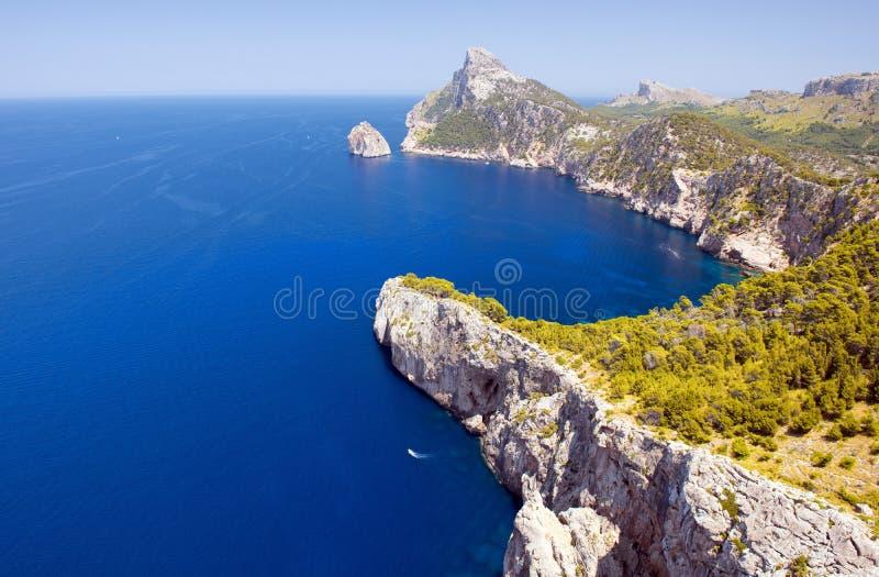 在北部马略卡海岸的海角Formentor  免版税库存照片