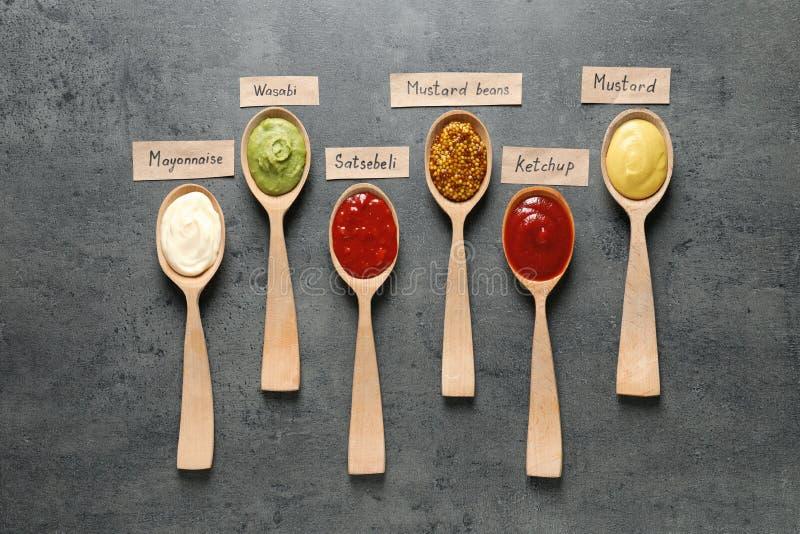 在匙子和名牌,平的位置的不同的调味汁 图库摄影
