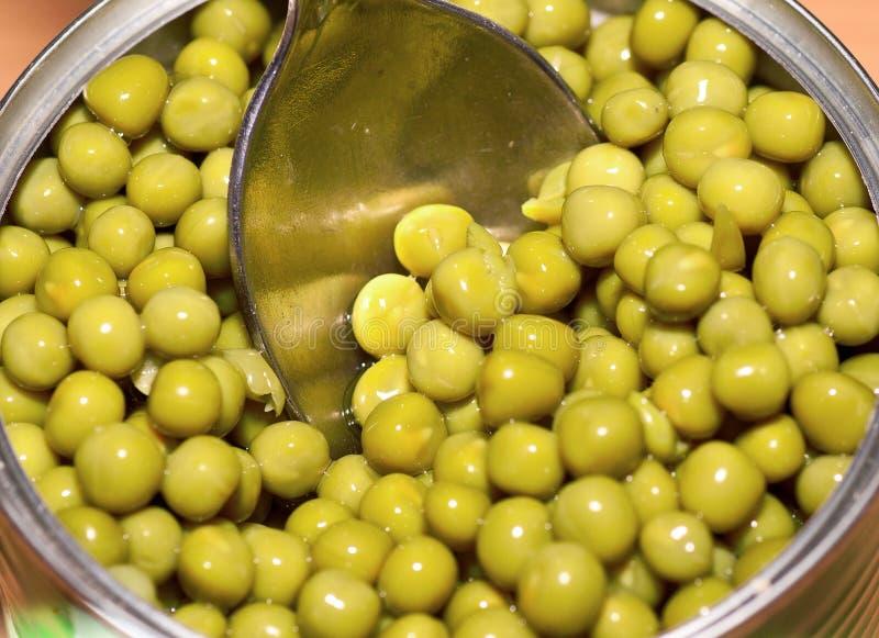 在匙子和开放锡罐的罐装豌豆 库存照片