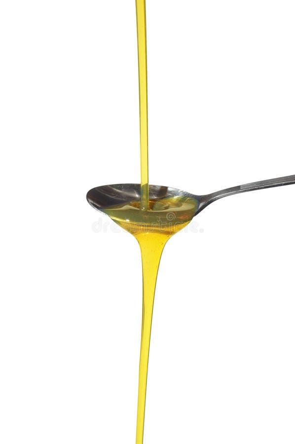 在匙子的向日葵油 免版税库存照片
