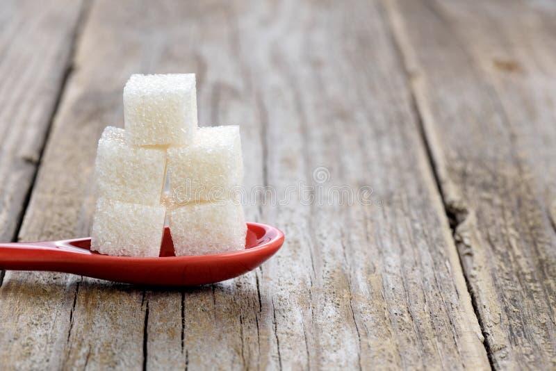 在匙子的糖立方体 免版税库存图片