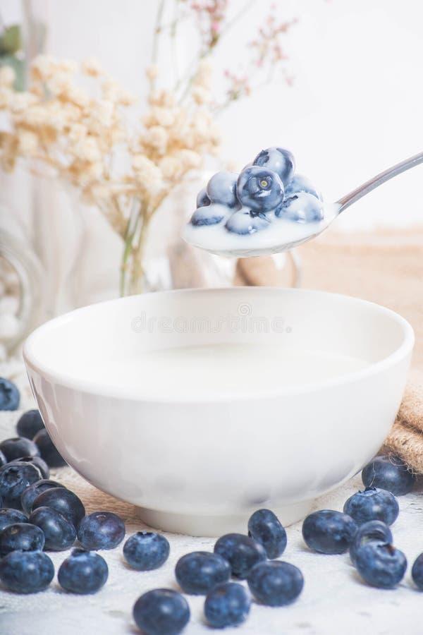 在匙子的水多和新鲜的蓝莓用酸奶 图库摄影