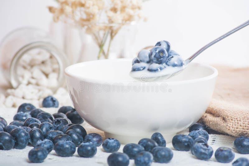在匙子的水多和新鲜的蓝莓用酸奶 库存图片