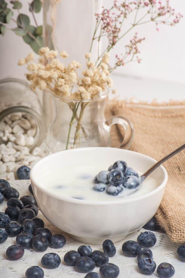 在匙子的水多和新鲜的蓝莓用酸奶 免版税库存照片
