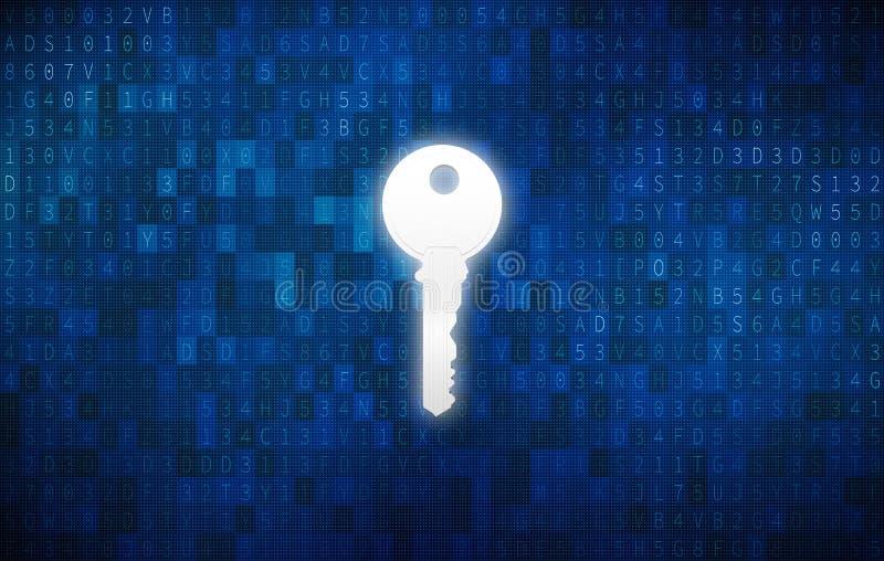 在匙孔的钥匙有数字式抽象技术背景 皇族释放例证