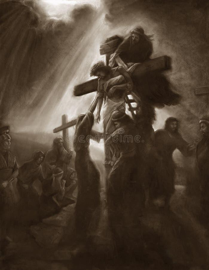 在十字架上钉死删除 图库摄影
