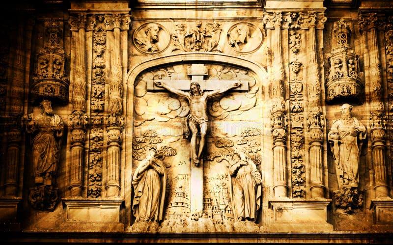 在十字架上钉死场面 免版税库存图片