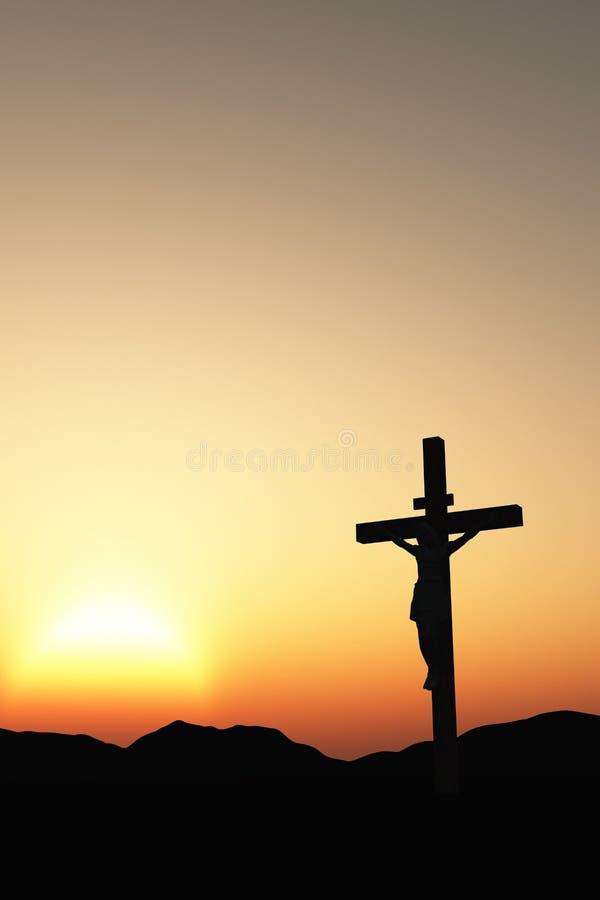 在十字架上钉死日落垂直 皇族释放例证