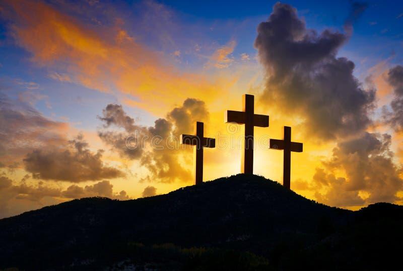 在十字架上钉死Golgotha的十字架标志 图库摄影