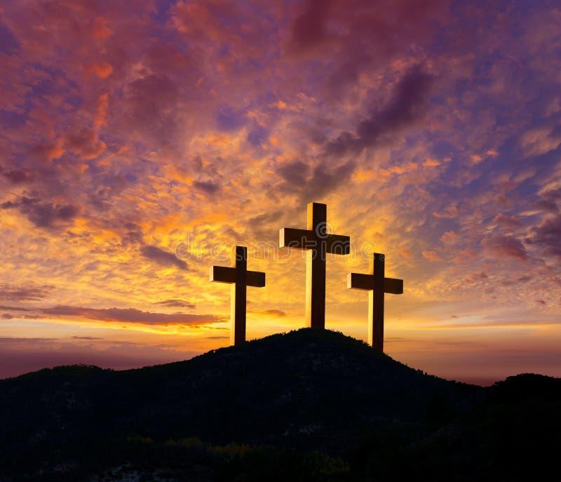在十字架上钉死Golgotha的十字架标志 免版税库存图片