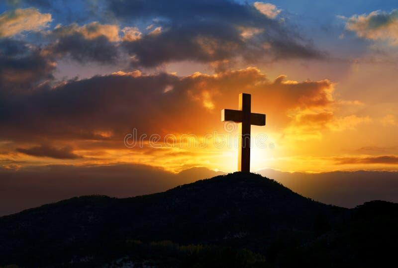 在十字架上钉死Golgotha的十字架标志 库存照片