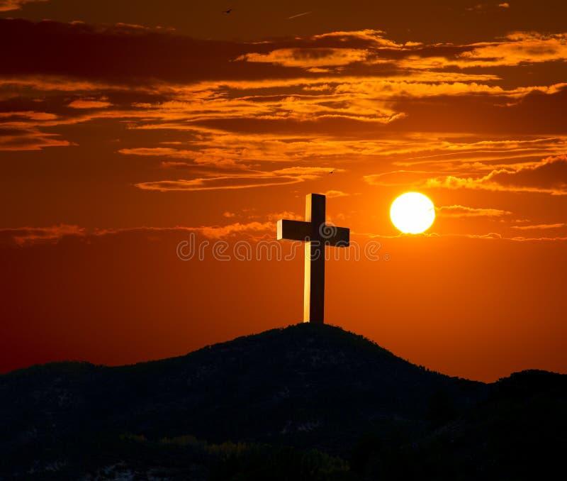 在十字架上钉死Golgotha的十字架标志 库存图片