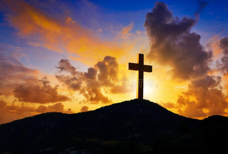 在十字架上钉死Golgotha的十字架标志 免版税图库摄影