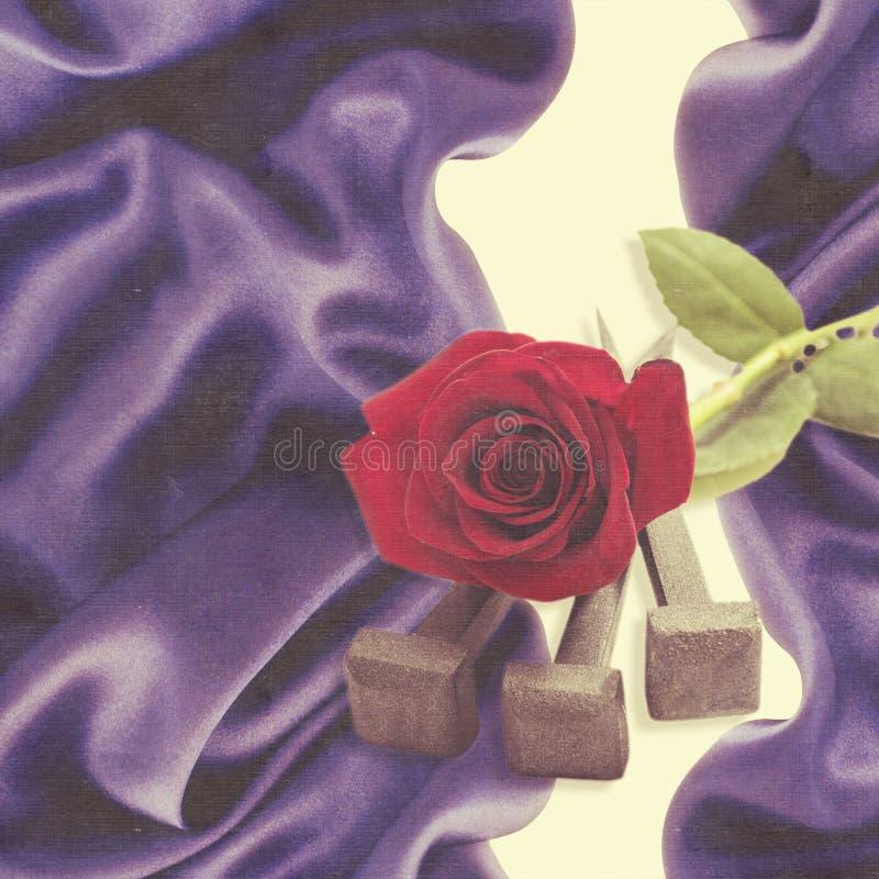 从在十字架上钉死和红色玫瑰的耶稣基督钉子 免版税库存图片
