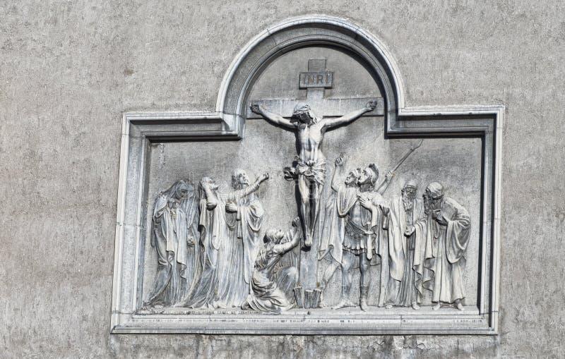 在十字架上钉死安心 库存图片