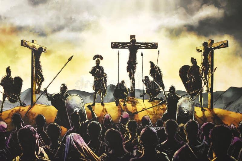 在十字架上钉死耶稣 免版税库存图片