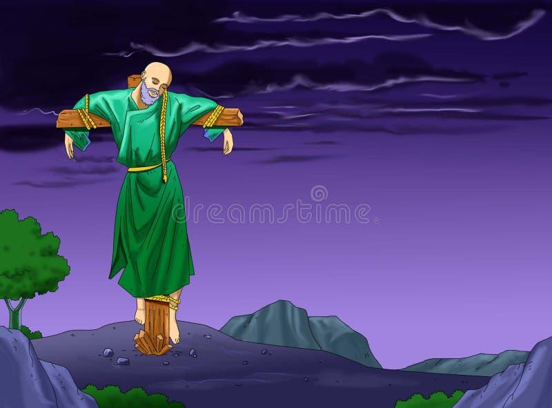 在十字架上钉死- santo圣诞老人日历基督徒idea2 皇族释放例证