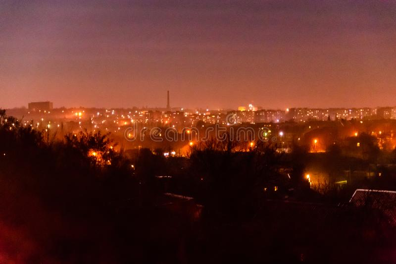 在午夜城市亚历山大,乌克兰的看法 免版税库存照片
