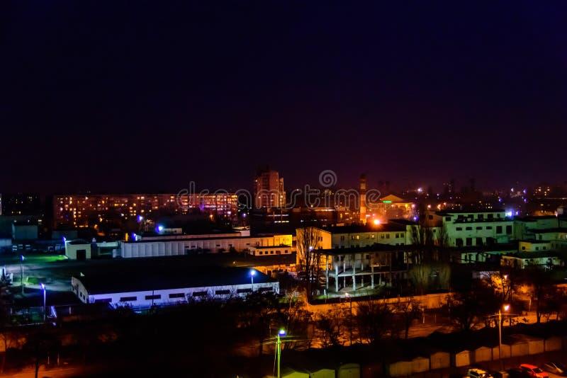 在午夜城市克列缅丘格,乌克兰的看法 图库摄影