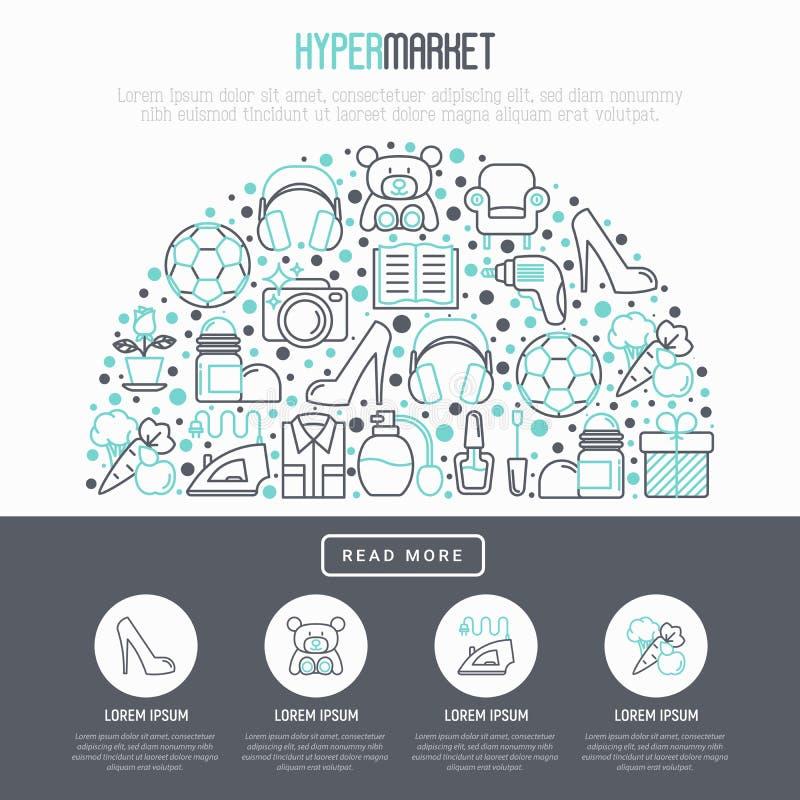 在半圈的大型超级市场概念 向量例证