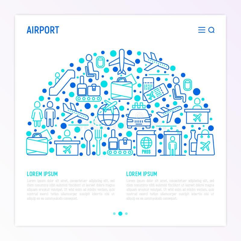 在半圈的机场概念 皇族释放例证