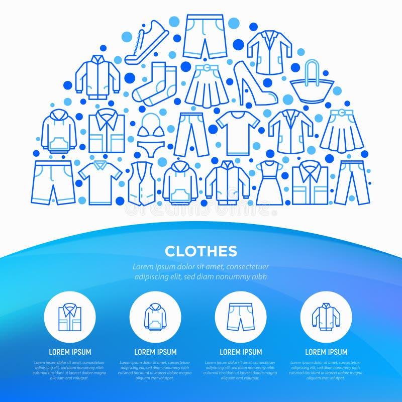 在半圈的衣物概念与稀薄的线象集合:衬衣,鞋子,裤子,有冠乌鸦,运动鞋,短裤,内衣,礼服,裙子, 皇族释放例证