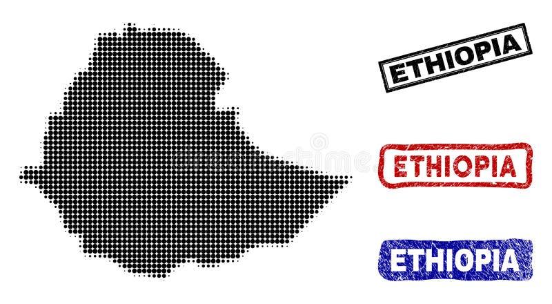 在半音小点样式的埃塞俄比亚地图与难看的东西标题邮票 向量例证