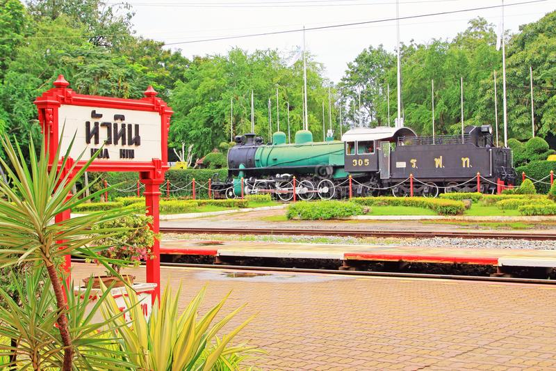 在华欣火车站,华欣,泰国的蒸汽火车 库存图片