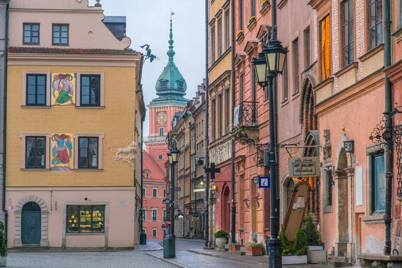 在华沙oldtown,波兰的大厦 库存图片