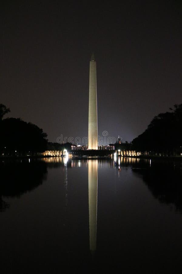 在华盛顿特区的华盛顿纪念碑沿全国购物中心 免版税库存图片