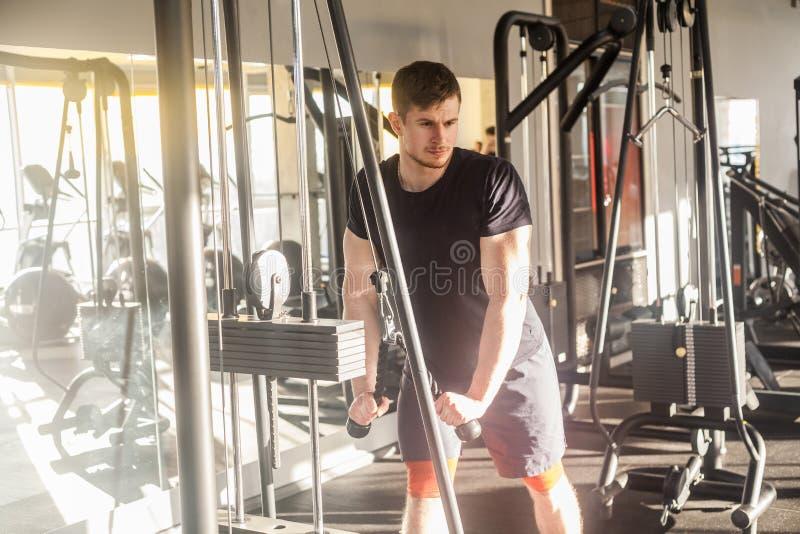 在单独健身房的,站立和练习在健身房的年轻成人体育运动员人训练画象举重,做锻炼为 图库摄影