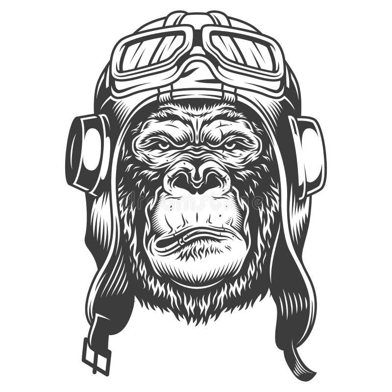 在单色样式的严肃的大猩猩 向量例证