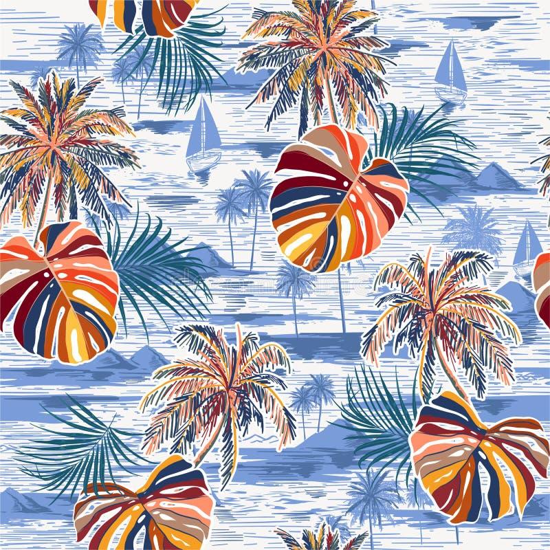 在单调风景的时髦美好的无缝的棕榈叶海岛样式与棕榈树、海滩和手拉海洋的传染媒介 皇族释放例证