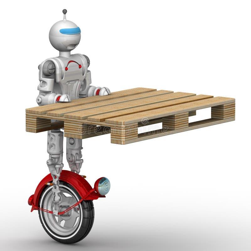 在单轮脚踏车的机器人拿着一个板台 向量例证