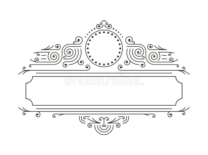 在单音线型的传染媒介花卉框架与文本的-商标设计模板拷贝空间 向量例证